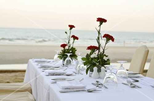 Laid table with red carnations on beach