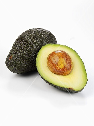 Whole avocado and half an avocado