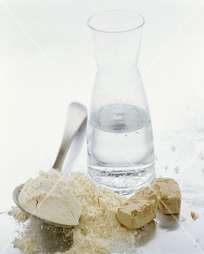 Ingredients for yeast dough: flour, water and yeast