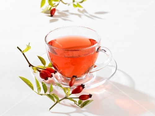 Rose hip tea in glass cup