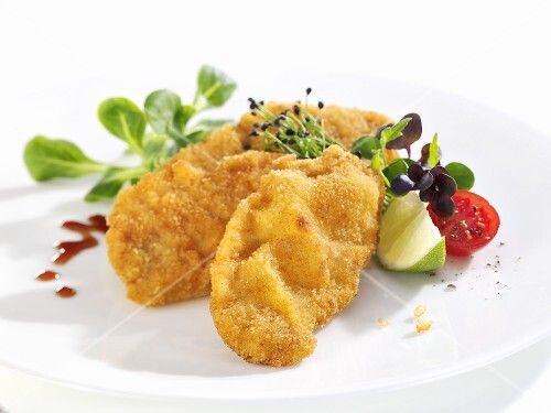 Wiener schnitzel (breaded veal escalope) with salad garnish