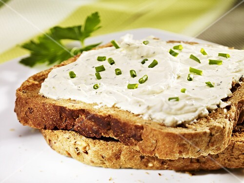 Cream cheese and chives on toast