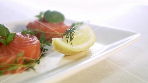 Gravlax with herbs (close-up)