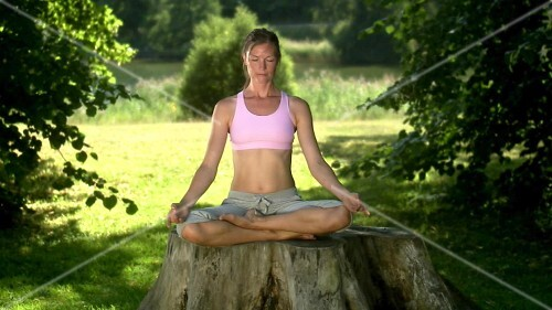Woman in lotus position on a tree stump in park