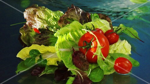Mixed salad leaves and tomatoes in water