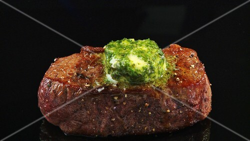 Fried beef sirloin with herb butter