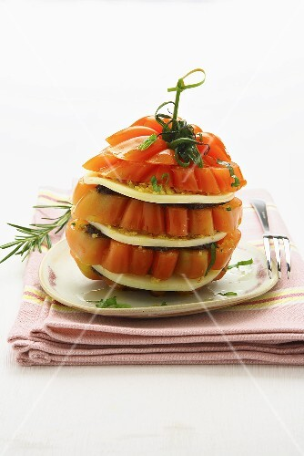 Tomato and Scamorza tower