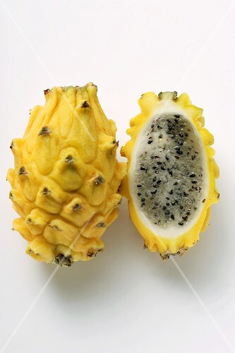 Whole and half pitahaya