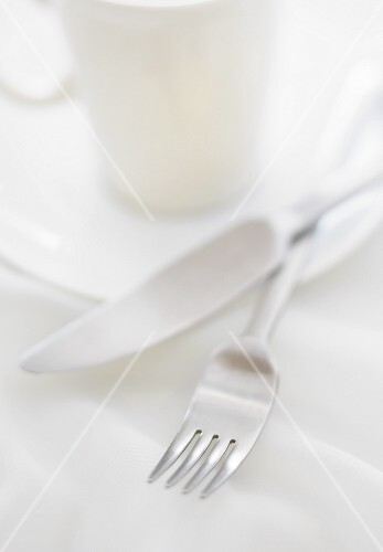 Fork and Knife; Coffee Cup and Saucer