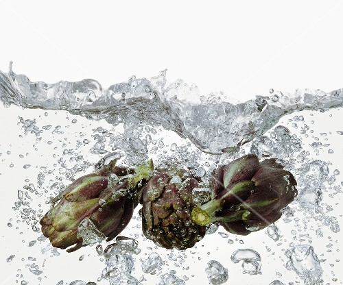 Artichokes in boiling water