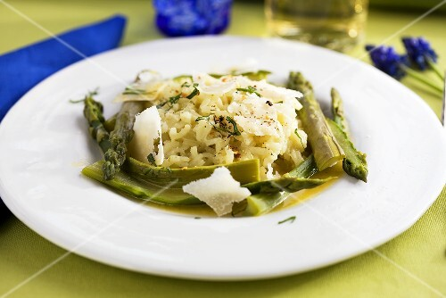 Asparagus risotto with grated Parmesan