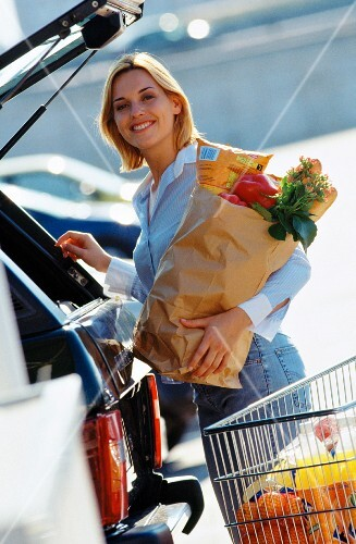 Woman food shopping with shopping trolley