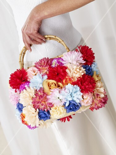 Woman with flowery bag