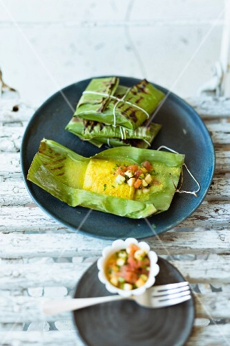 Rosefish in a banana leaf with a Caribbean salsa