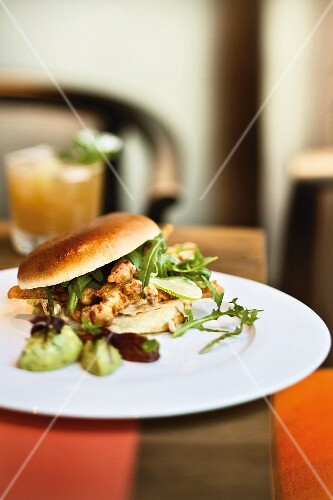 Soft-shell crab and rocket burger
