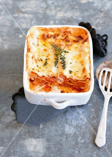 Pumpkin lasagne in a baking dish