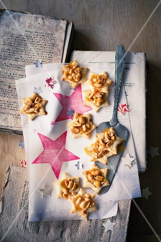 Peanut stars on a piece of paper