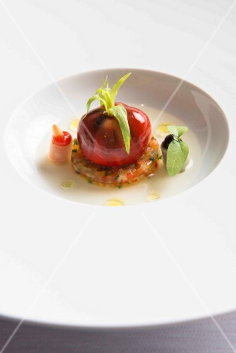 Tomato mousse on gazpacho