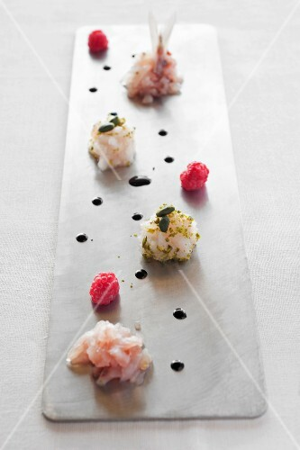Fish canapes made from weever fish and horse mackerel