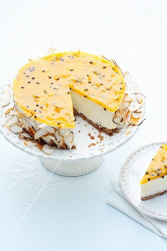 Coconut and passion fruit cheesecake