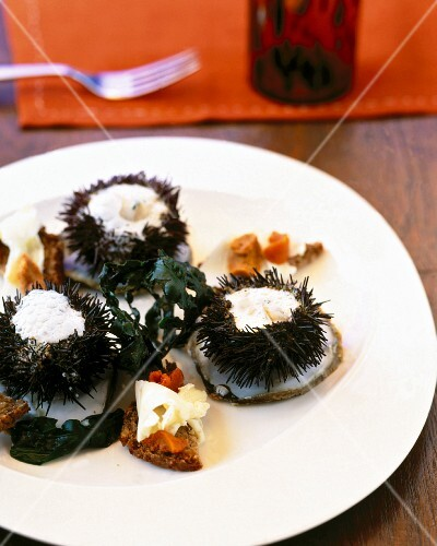 Sea urchins with champagne sauce