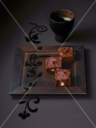 Date brownies on serving dish