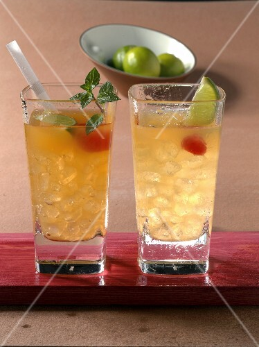 Two Mai Tai cocktails with rum