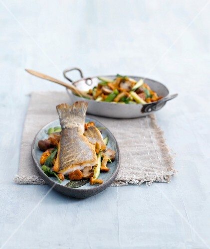 Pan grilled mushroom and herb with sea bass on tray