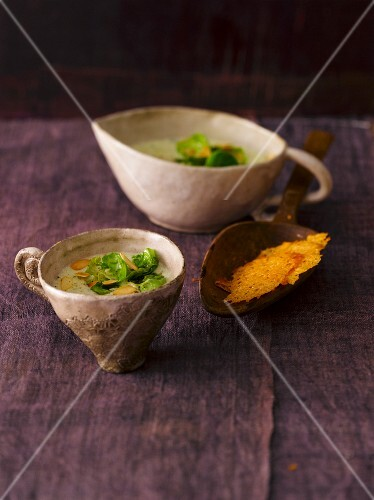 Brussels sprout soup with Parmesan crisps