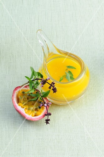 Passion fruit dressing in a glass container