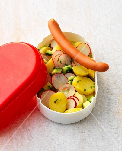 Potato salad with radishes and a hot dog in a plastic box