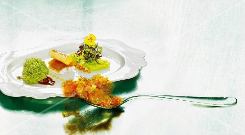 Cordon bleu of quail with smoked eel and apricot jelly