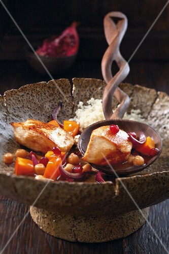 Chicken tagine with pumpkin, chickpeas and pomegranate seeds