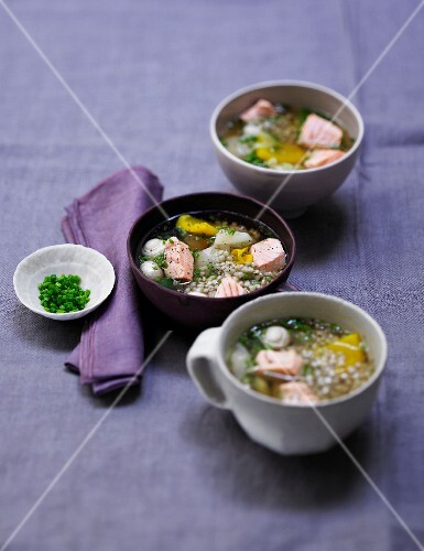 Buckwheat and salmon soup in small bowls
