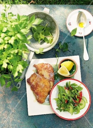 Herb salad with piccata