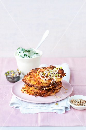 Potato fritters with herb quark and bean sprouts