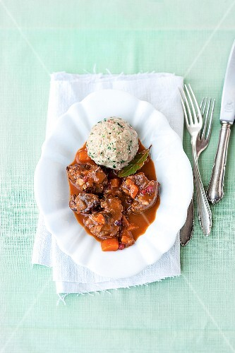 Venison goulash with carrots and a dumpling