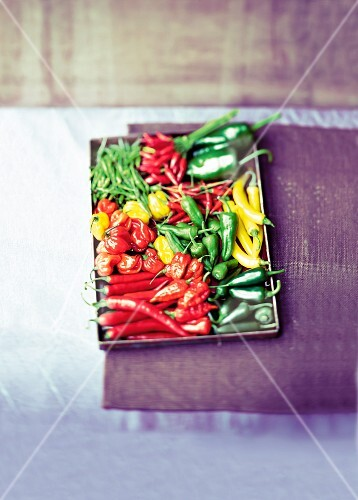 Various types of chillis on a tray