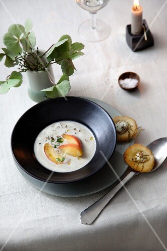 Chestnut and apple soup with rosemary cakes