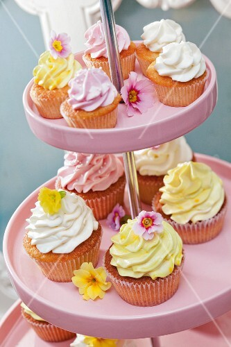 Frosted cupcakes on a cake stand
