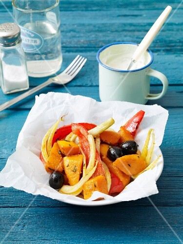 Oven roasted vegetables with tzatziki