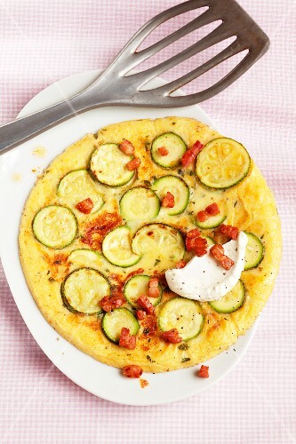 Courgette and bacon pancake