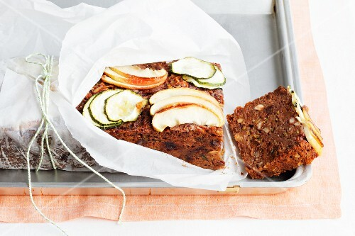 Fruit bread with apple and courgette