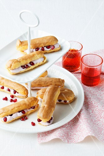 Eclairs with pomegranate cream