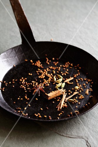 Roasted spices in a pan