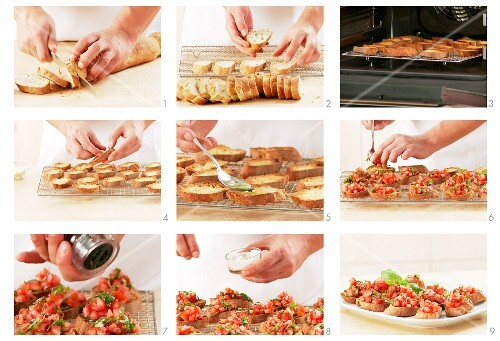 Bruschetta being prepared: bread being toasted and topped with tomatoes