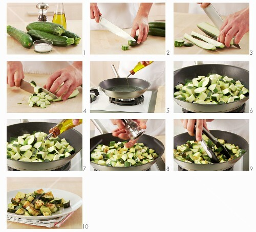 Courgette being fried