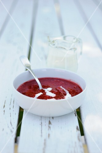 Strawberry soup with cream (Denmark)