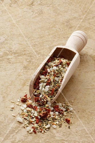Mediterranean spiced mixture in a wooden scoop