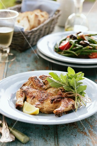 Grilled, butterfly cut chicken